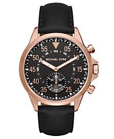 Access Men's Gage Black Leather Strap Hybrid Smart Watch 45mm