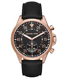 Michael Kors Access Men's Gage Black Leather Strap Hybrid Smart Watch 45mm
