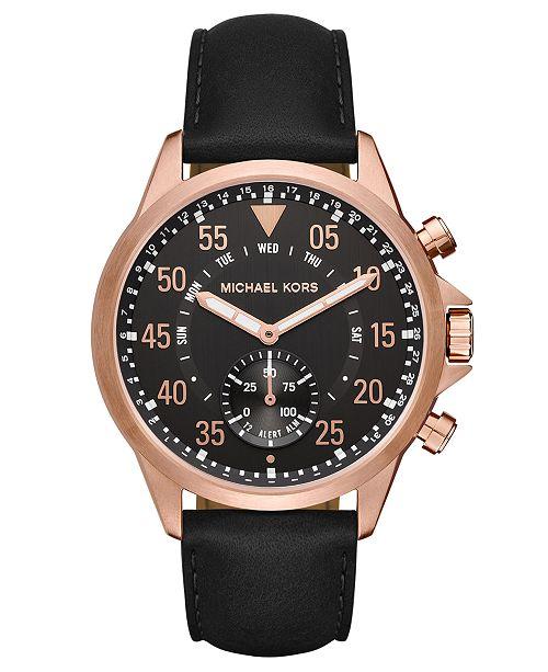 33d9bc67ead3 ... Michael Kors Access Men s Gage Black Leather Strap Hybrid Smart Watch  ...