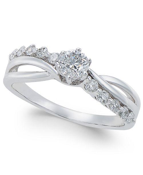 Macy's Diamond Swirl Engagement Ring (1/2 ct. t.w.) in 14k White Gold