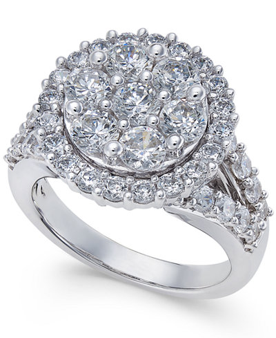 Diamond Large Round Cluster Ring (2-1/2 ct. t.w.) in 14k White Gold