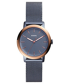 Fossil Women's Neely Blue Stainless Steel Mesh Bracelet Watch 34mm