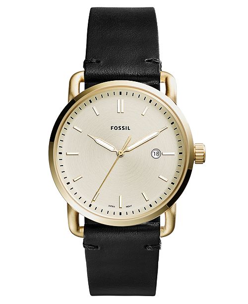 Fossil Men's Commuter Black Leather Strap Watch 42mm