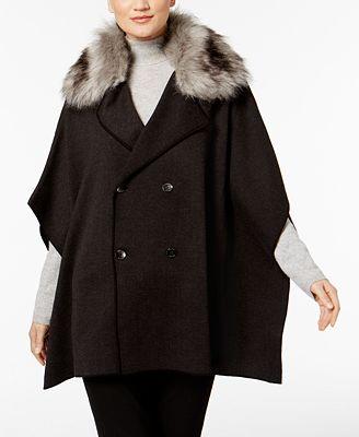 Calvin Klein Faux-Fur-Collar Knit Cape