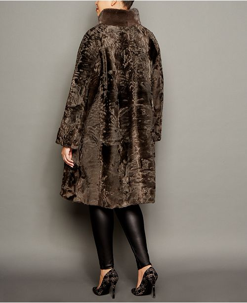 2e14f4b2b8e The Fur Vault Plus Size Mink-Trim Persian Lamb Coat   Reviews - The ...