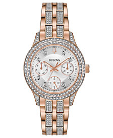 Bulova Women's Crystal Rose Gold-Tone Stainless Steel Bracelet Watch 33mm