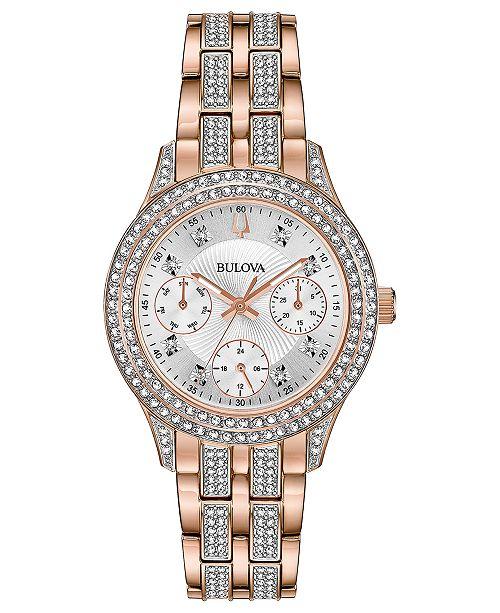 Bulova Women's Crystal Rose Gold-Tone Stainless Steel Bracelet Watch 33mm
