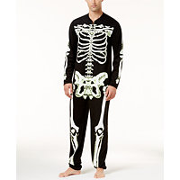 Bioworld Men's Glow-In-The-Dark Skeleton Onesie