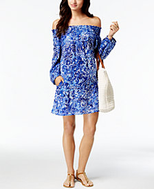 Lauren Ralph Lauren Playa Cotton Floral-Print Off-The-Shoulder Cover-Up Dress