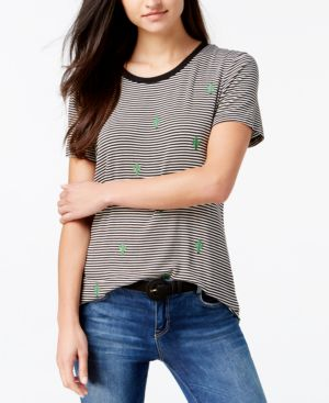 Carbon Copy Embroidered All Over Cactus Striped T-Shirt 5169247