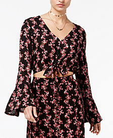 American Rag Juniors' Printed Bell-Sleeve Top, Created for Macy's