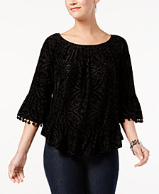 Style & Co Petite Off-The-Shoulder Flocked Top, Created for Macy's
