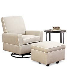CLOSEOUT! Emmerson Swivel Glider Chair & Ottoman Set, Quick Ship