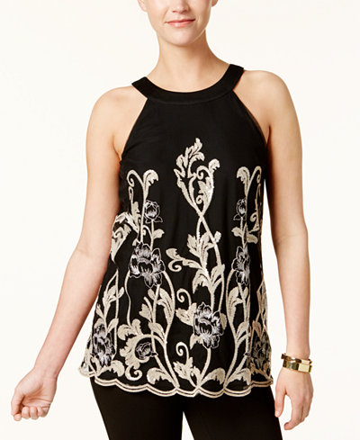 Alfani Petite Embroidered Top, Created for Macy's