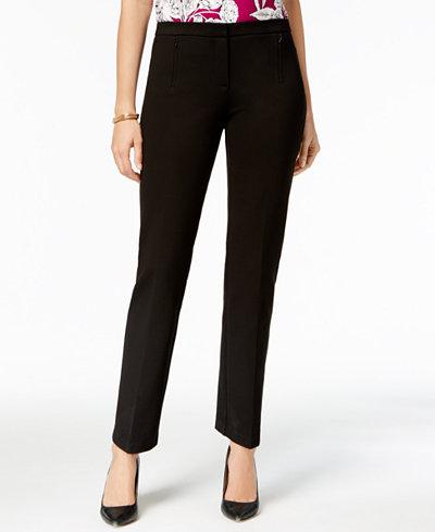 Alfani Ponte-Knit Zip-Pocket Pants, Created for Macy's