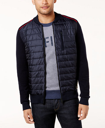 Tommy Hilfiger Men's Petric Quilted Bomber Jacket - Sweaters - Men ... : tommy hilfiger quilted vest - Adamdwight.com