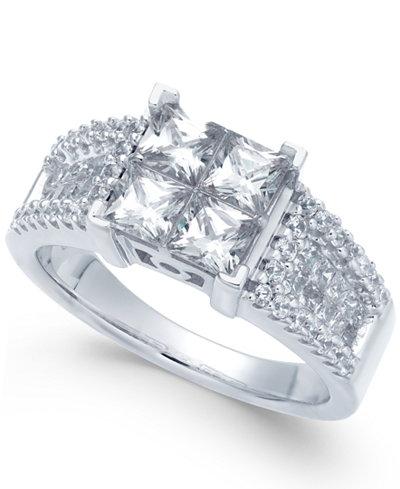 diamond princess engagement ring 2 ct tw macys - Macys Wedding Rings
