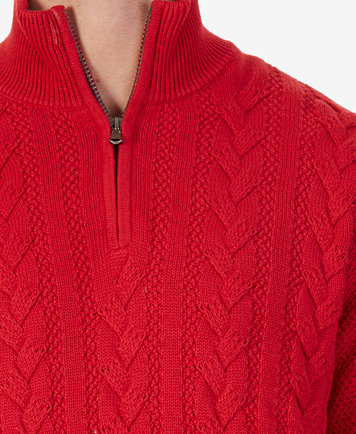 Nautica Men's Cable-Knit Quarter-Zip Sweater - Sweaters - Men - Macy's