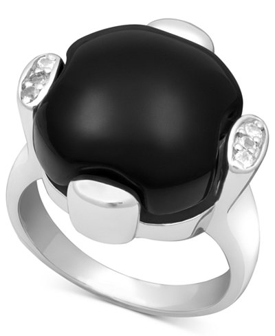 Sterling Silver Ring, Onyx (13-14mm) and White Topaz (9/10 ct. t.w.)