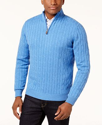 Club Room Men's Cable Quarter-Zip Pima Cotton Sweater, Created for Macy's