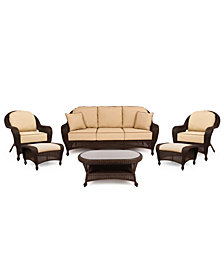 Monterey Outdoor Wicker 6-Pc. Seating Set with Sunbrella® Cushions (1 Sofa, 2 Club Chairs, 2 Ottomans and 1 Coffee Table), Created for Macy's