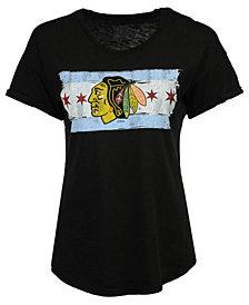 Retro Brand Women's Chicago Blackhawks Rolled Sleeve Rounded T-Shirt