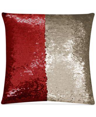 "Mermaid Colorblocked Red & Beige Sequin 18"" Square Decorative Pillow"