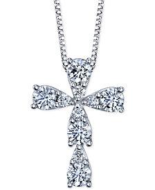 Diamond Cross Pendant Necklace (3/8 ct. t.w.) in 14k White Gold