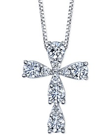 Diamond Cross Pendant Necklace (3/8 ct. t.w.) in 14k White Gold