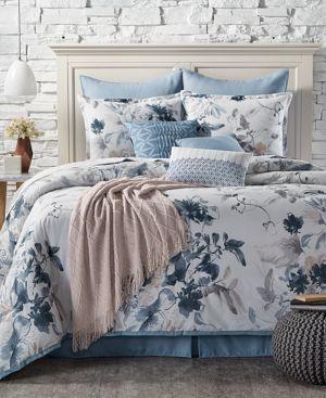 Closeout! Kelly Ripa Home Indigo Mood Reversible 10-Pc. Queen Comforter Set Bedding 4945711