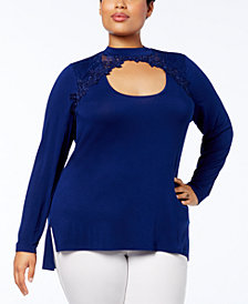 Love Scarlett Plus Size Lace-Inset Cutout Tunic