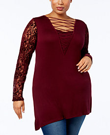 Love Scarlett Plus Size Burnout Velvet-Sleeve Tunic