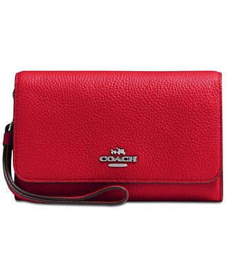 COACH Boxed Phone Clutch in Polished Pebble Leather