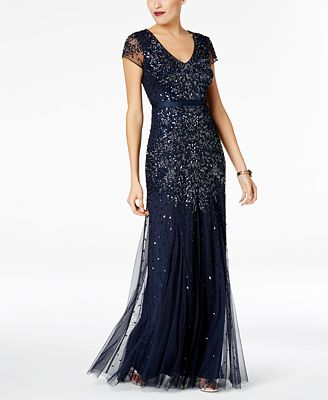 Adrianna Papell Cap Sleeve Embellished Gown Dresses Women Macy S