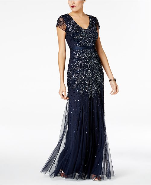 99669060858 Adrianna Papell Cap-Sleeve Embellished Gown   Reviews - Dresses ...