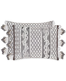 "J Queen New York Bel Air Silver 15"" x 21"" Boudoir Decorative Pillow"