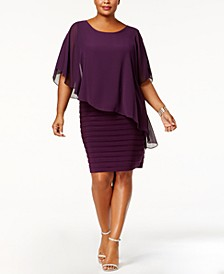 Plus Size Chiffon Capelet Sheath Dress