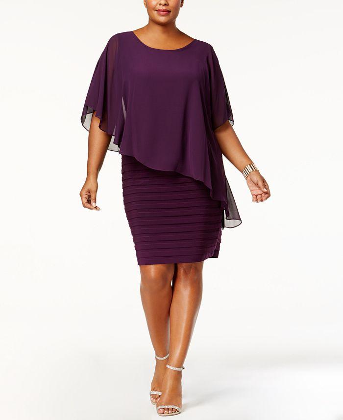 Betsy & Adam - Plus Size Dress, Three-Quarter-Sleeve Chiffon Capelet Sheath