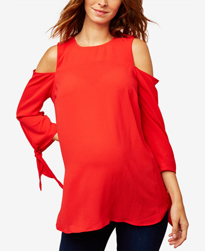 A Pea In The Pod Maternity Cold-Shoulder Top