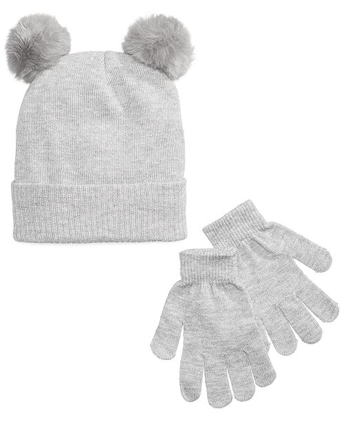 f833bda98df Berkshire 2-Pc. Hat with Faux-Fur Pom-Poms   Gloves Set