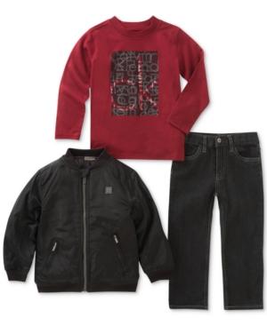 Calvin Klein 3Pc GraphicPrint Shirt Pants  Bomber Jacket Set Toddler Boys (2T5T)