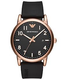 Emporio Armani Men's Black Rubber Strap Watch 43mm