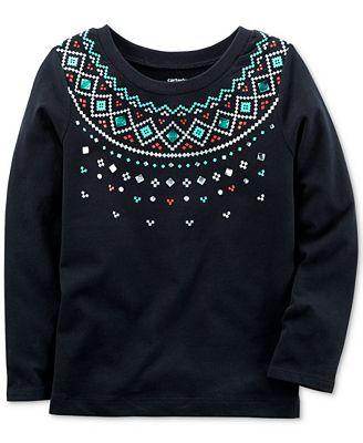 Carter's Fair Isle-Print Cotton T-Shirt, Toddler Girls (2T-5T ...
