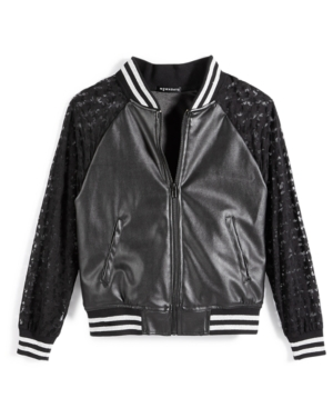 Nowadays Skai Tween Star Leather Bomber Jacket Big Girls (716)  Juniors (15)