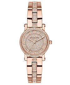 Michael Kors Women's Petite Norie Rose Gold-Tone Stainless Steel Bracelet Watch 28mm