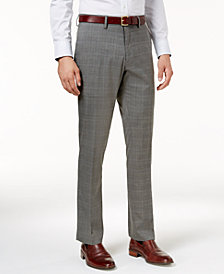 Kenneth Cole Reaction Men's Slim-Fit Stretch Medium Grey Sharkskin Plaid Dress Pants