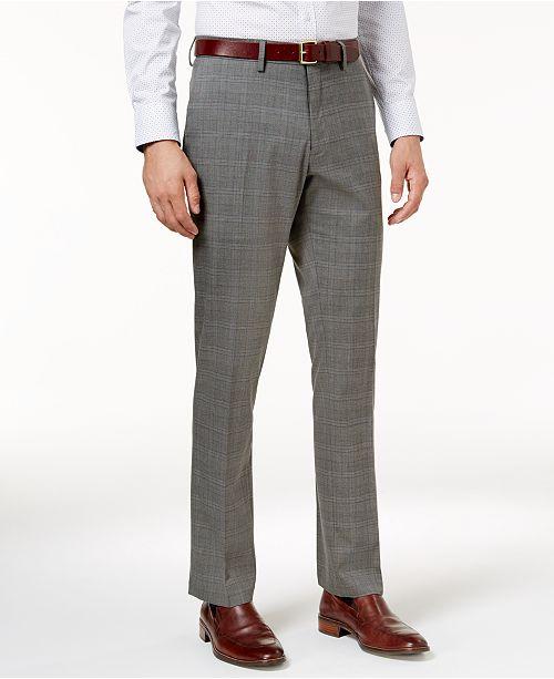 Kenneth Cole Reaction Men's SlimFit Stretch Medium Grey Sharkskin Unique Men's Patterned Dress Pants