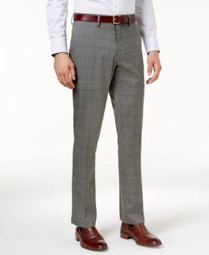 Kenneth Cole Reaction Men's Slim-Fit Stretch Medium Grey Sharkskin Plaid Dress Pants 4845219