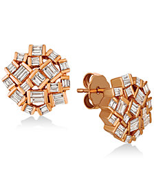 Le Vian® Baguette Frenzy Diamond Cluster Earrings (5/8 ct. t.w.) in 14k Rose Gold
