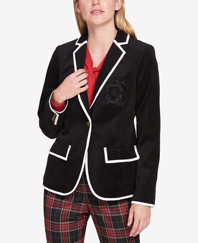 Tommy Hilfiger Colorblocked-Trim Velvet Blazer, Created for Macy's